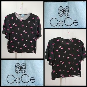 Cece woman floral bell sleeve blouse size XL
